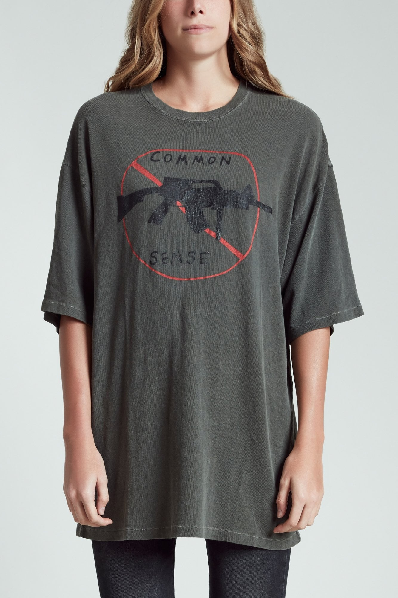 No Guns Oversized T - Faded Grey