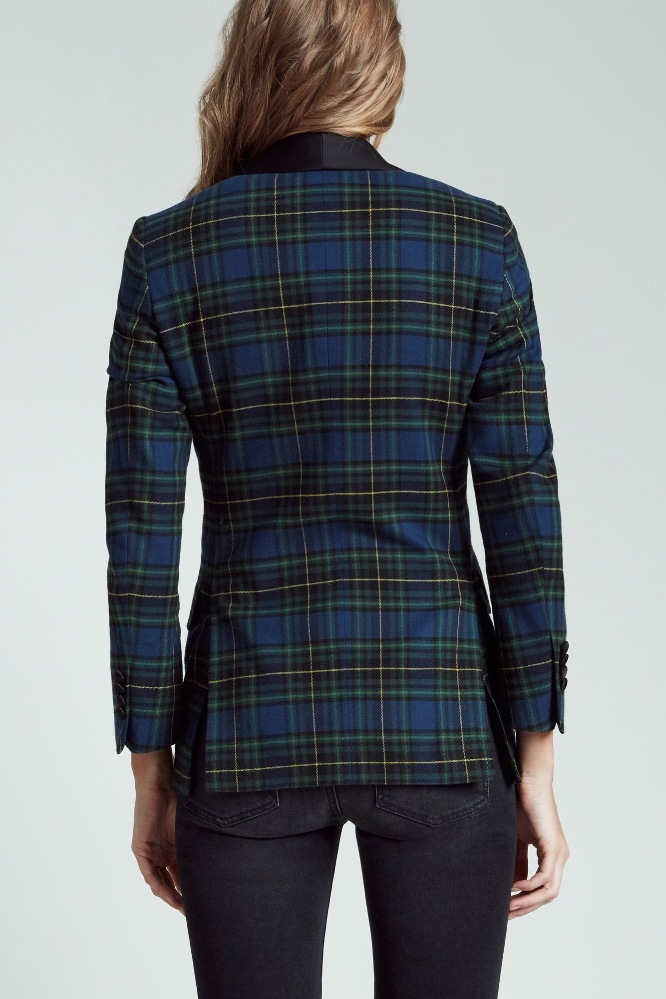 Shawl Lapel Tuxedo Jacket - Green and Blue Plaid