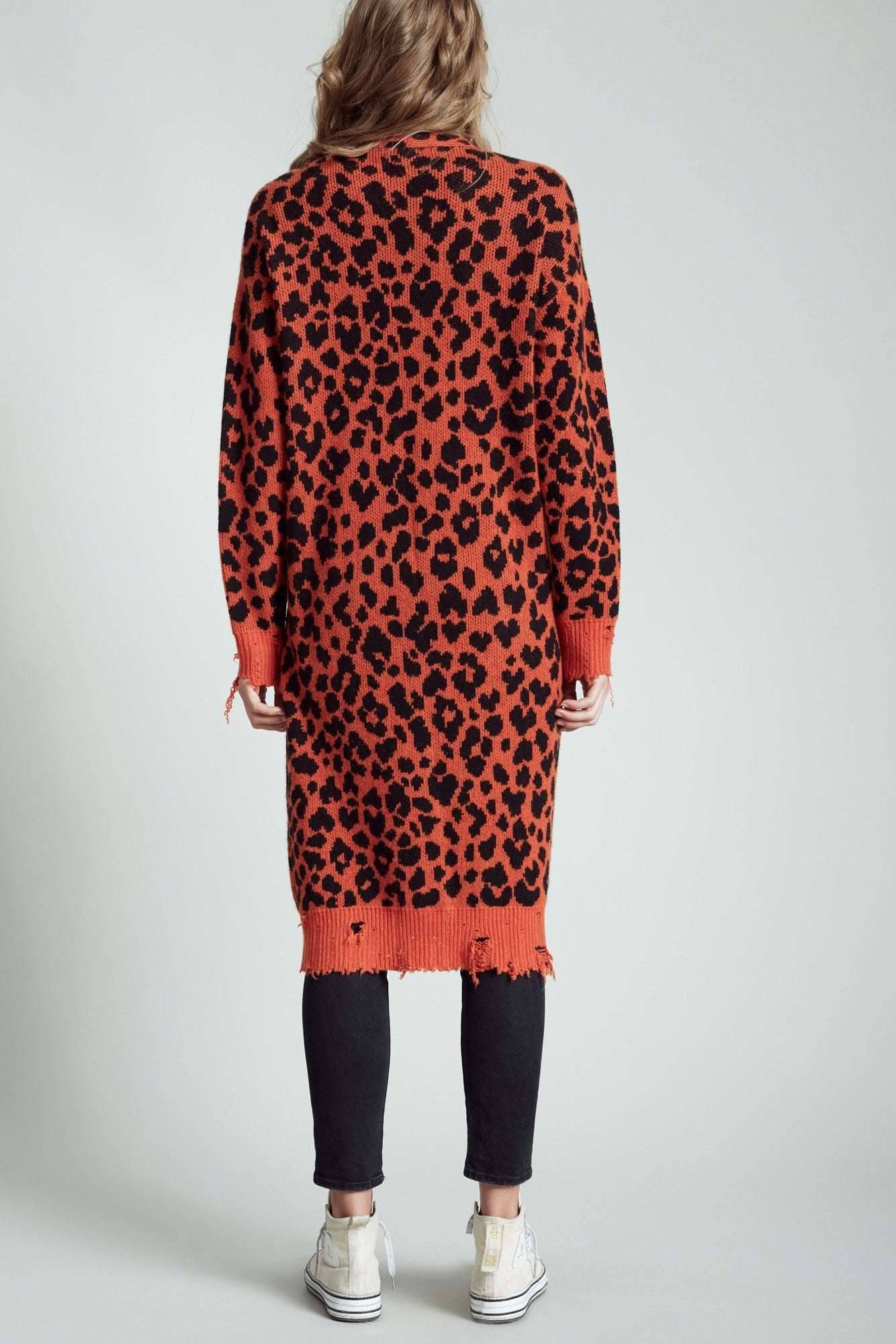 Orange Leopard Long Cashmere Cardigan