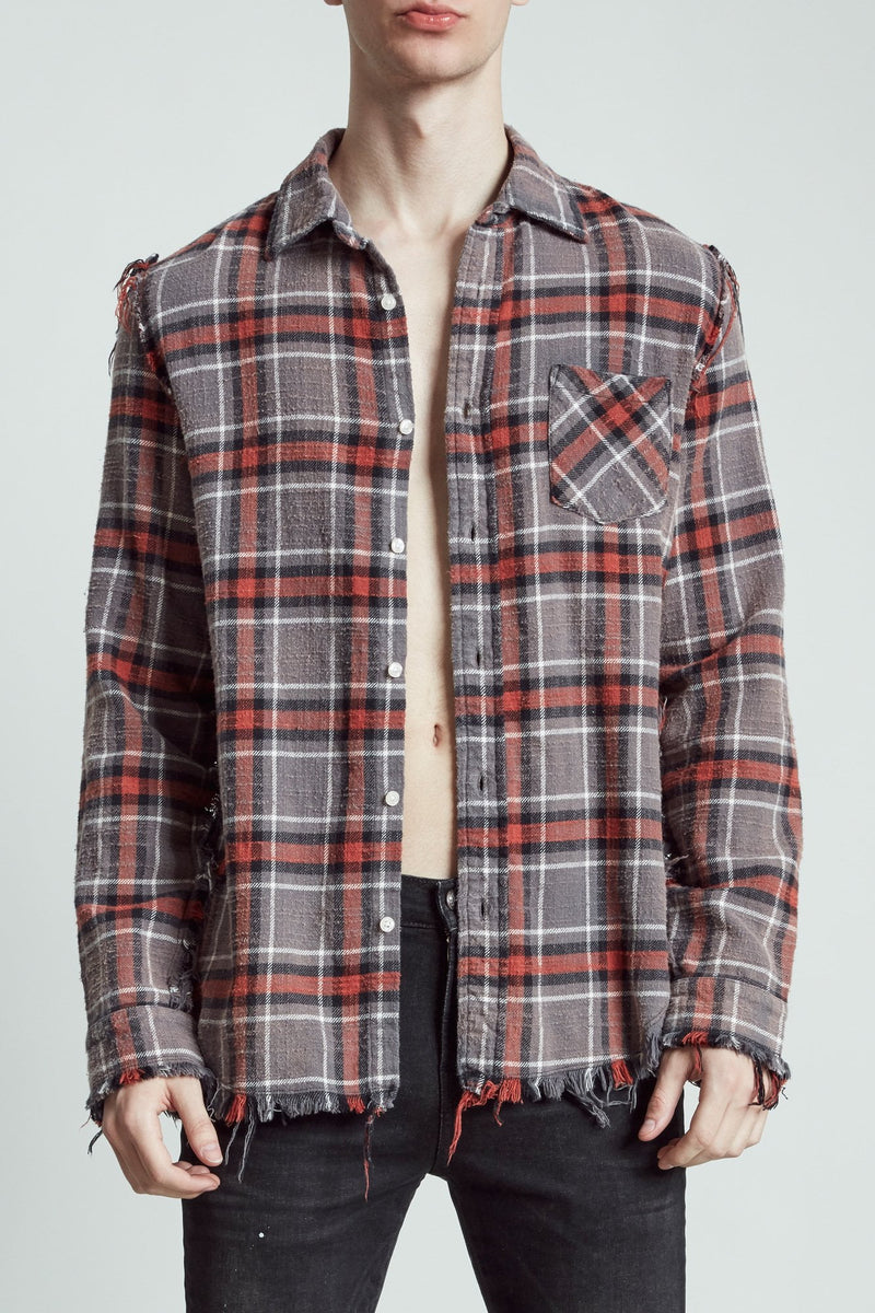 Shredded Seam Shirt - Charcoal and Red Plaid