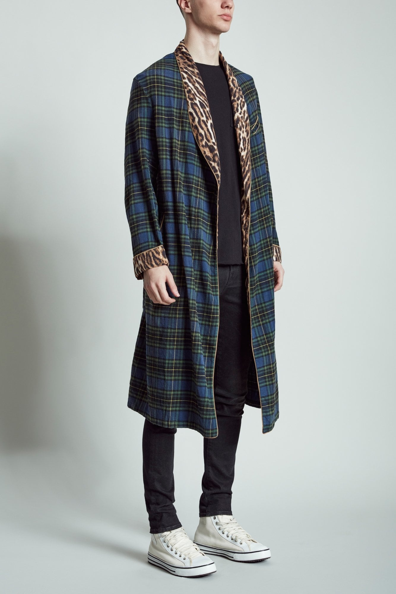 Smoking Robe with Piping - Blue Plaid with Leopard