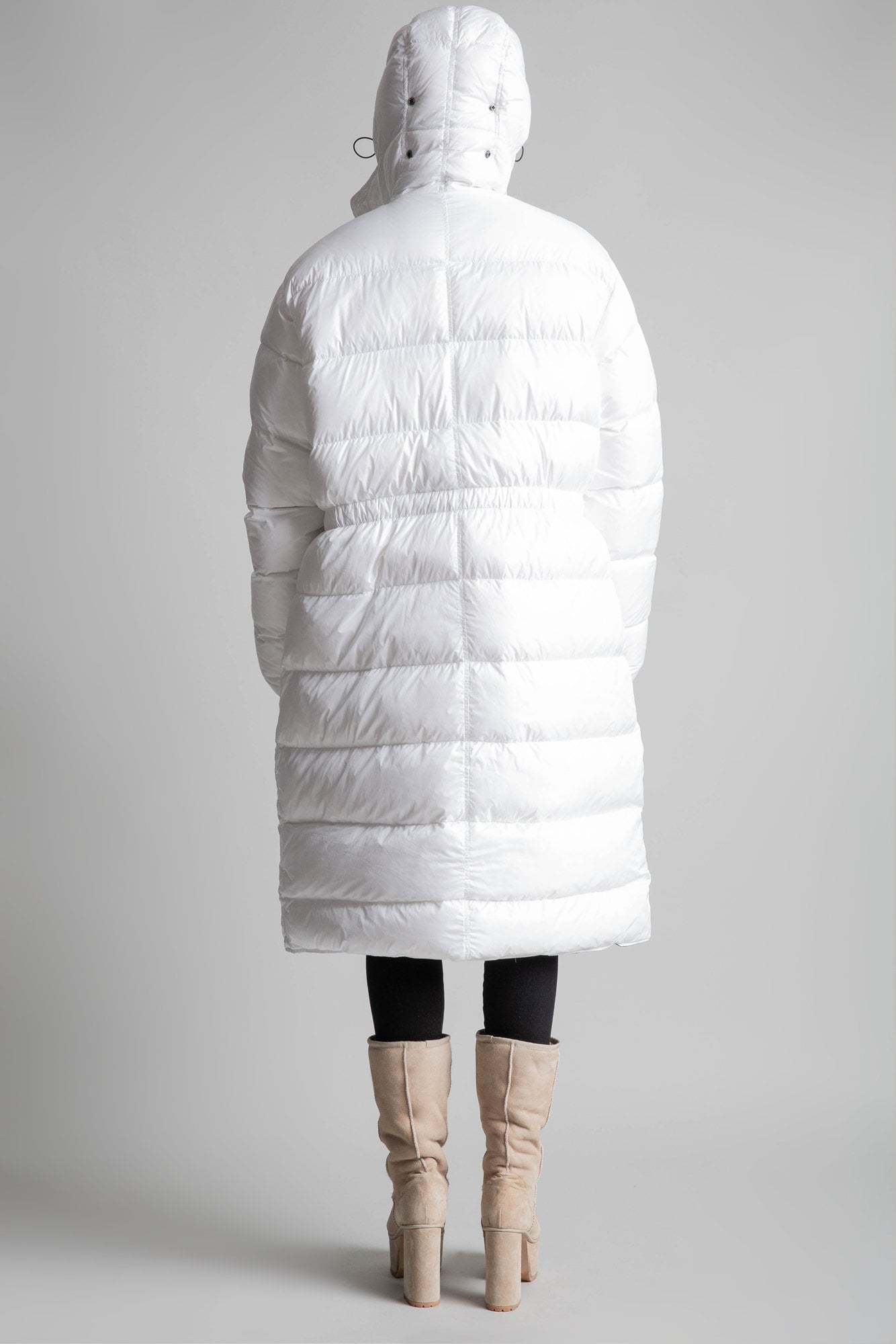 Long Anorak Puffer Jacket - White w/ Black