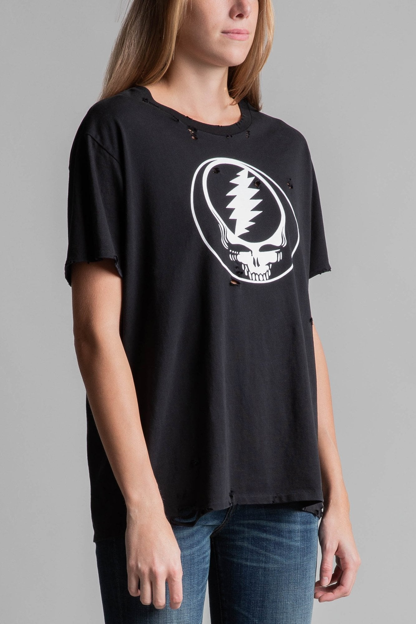 Steal Your Face Distressed Boy T- Black