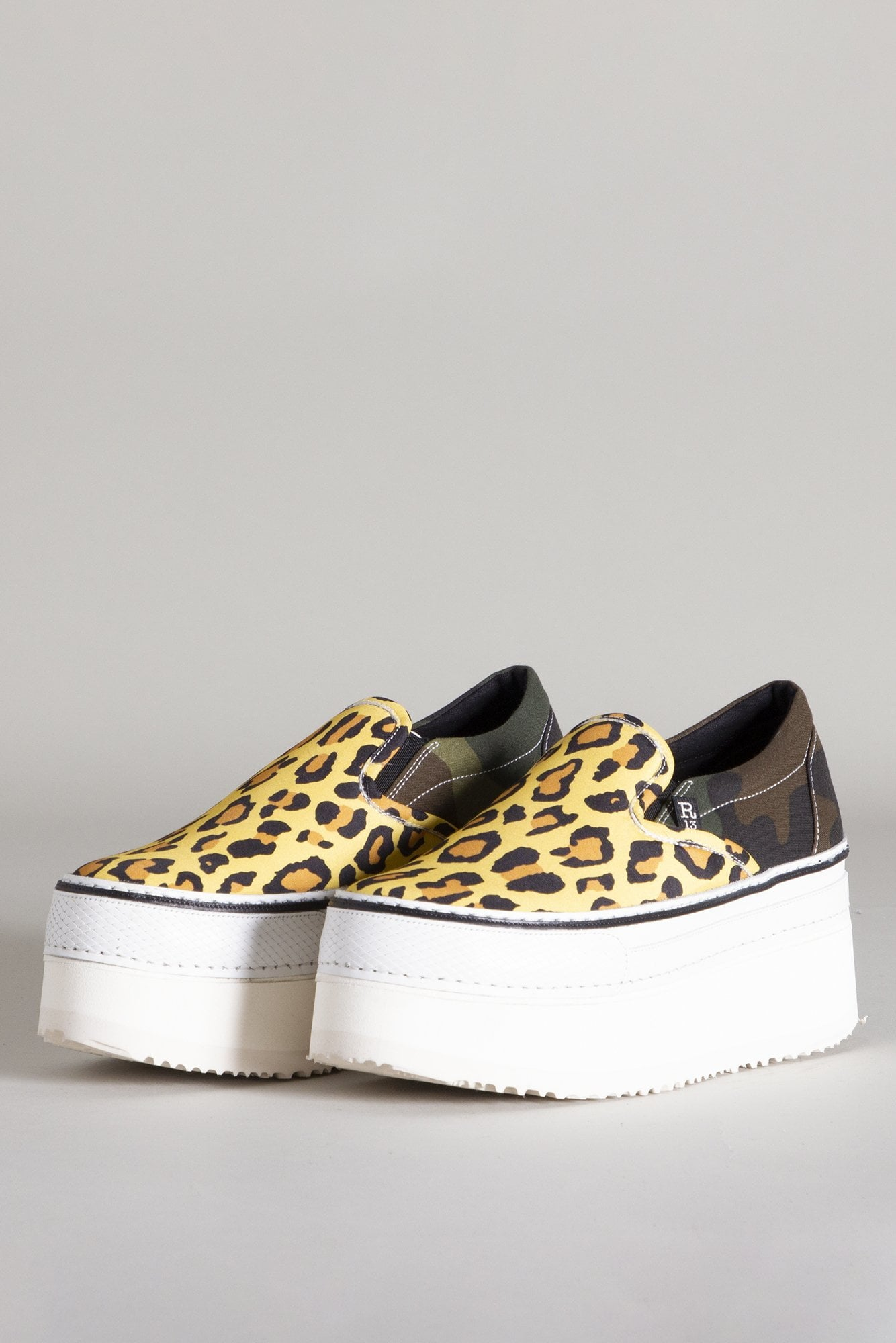 Slip-on Platform Sneaker - Yellow Leopard with Camo