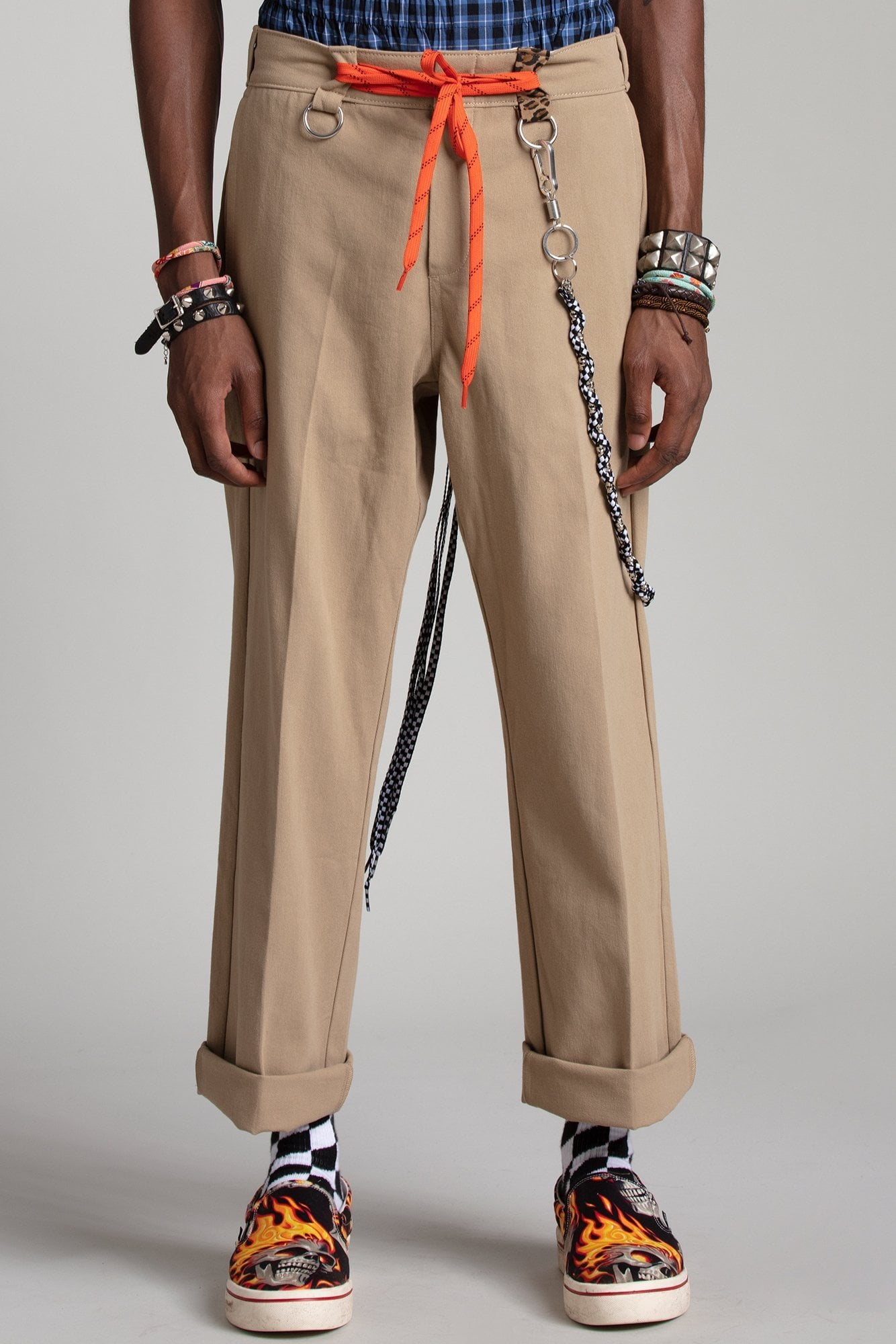 Slouch Pant with Rings - Khaki with Leopard