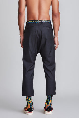 Tailored Drop Trouser with Shoelace Belt - Grey Glenplaid