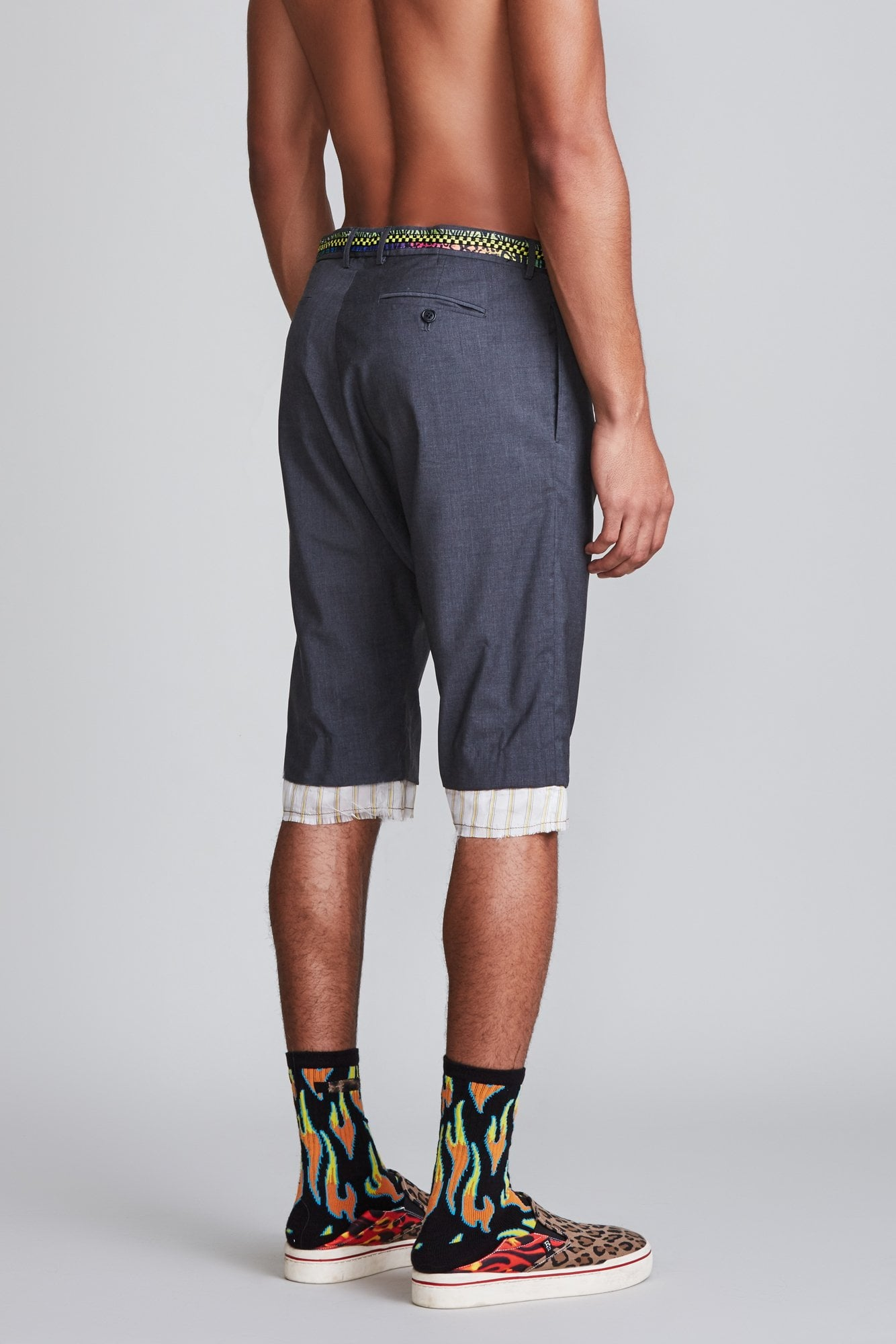 Drop Crotch Short with Shoelace Belt - Charcoal