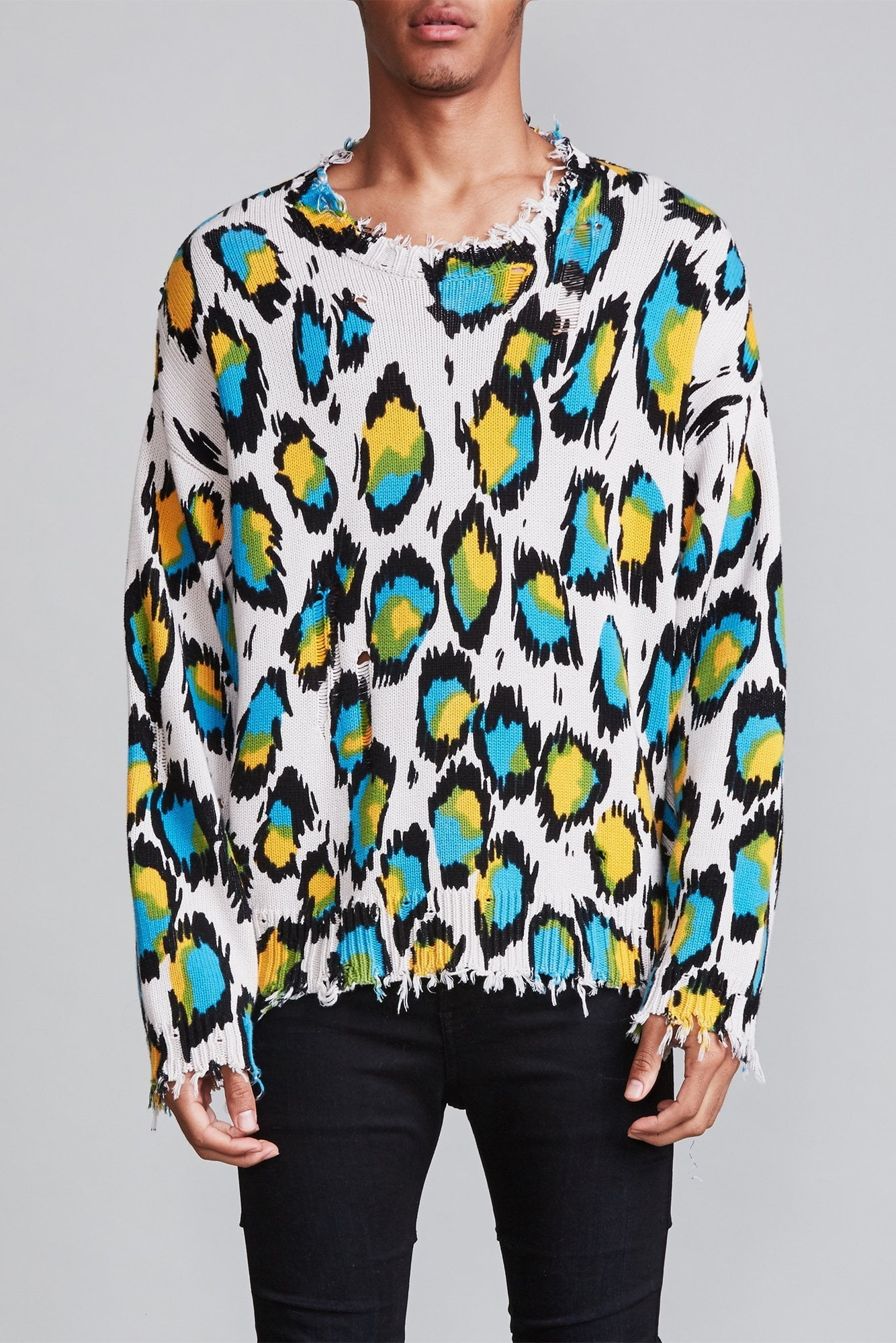 Multicolor Leopard Oversized Sweater