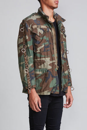 Refurbished Camo Field Jacket with Rings