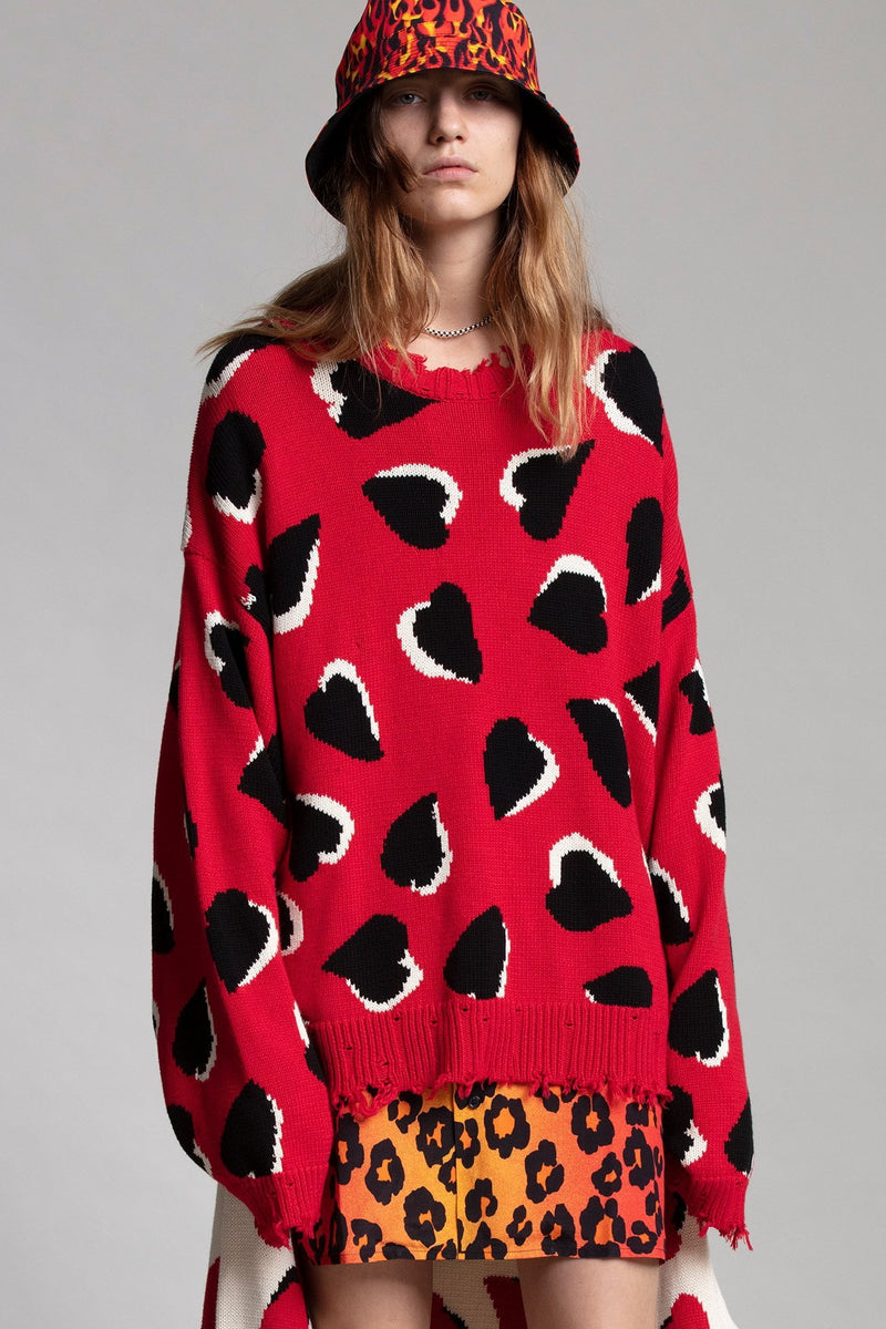 Oversized Sweater - Red Hearts