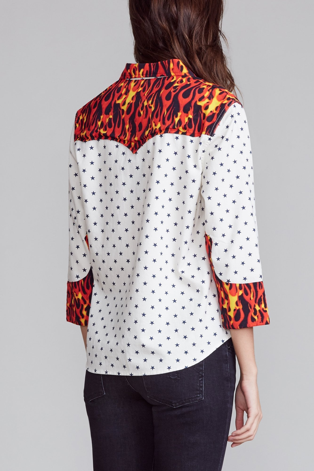 Exaggerated Collar Cowboy Shirt - White and Blue Star with Flames