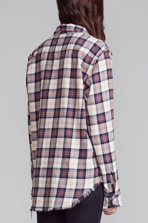 Shredded Seam Shirt - Ecru and Purple Plaid