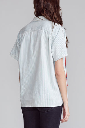 Tony Shirt - Light Blue Stripe with Patchwork