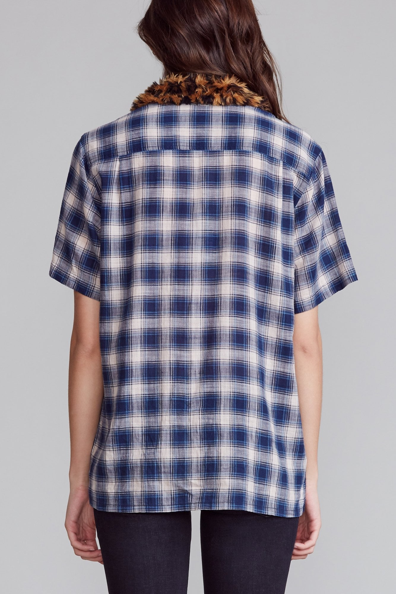 Tony Shirt - Blue Plaid with Fire and Leopard