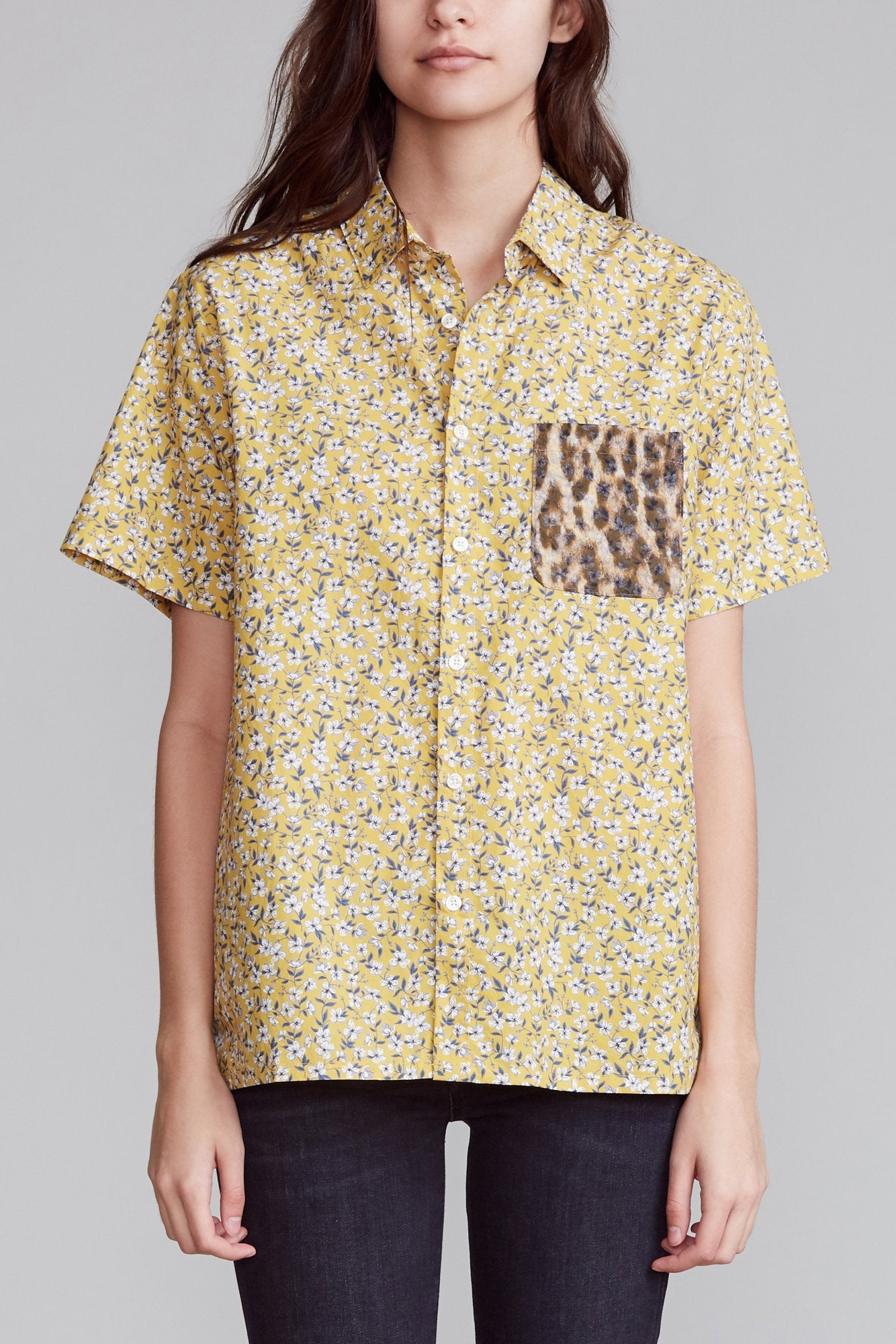 Tony Shirt - Yellow Floral with Leopard