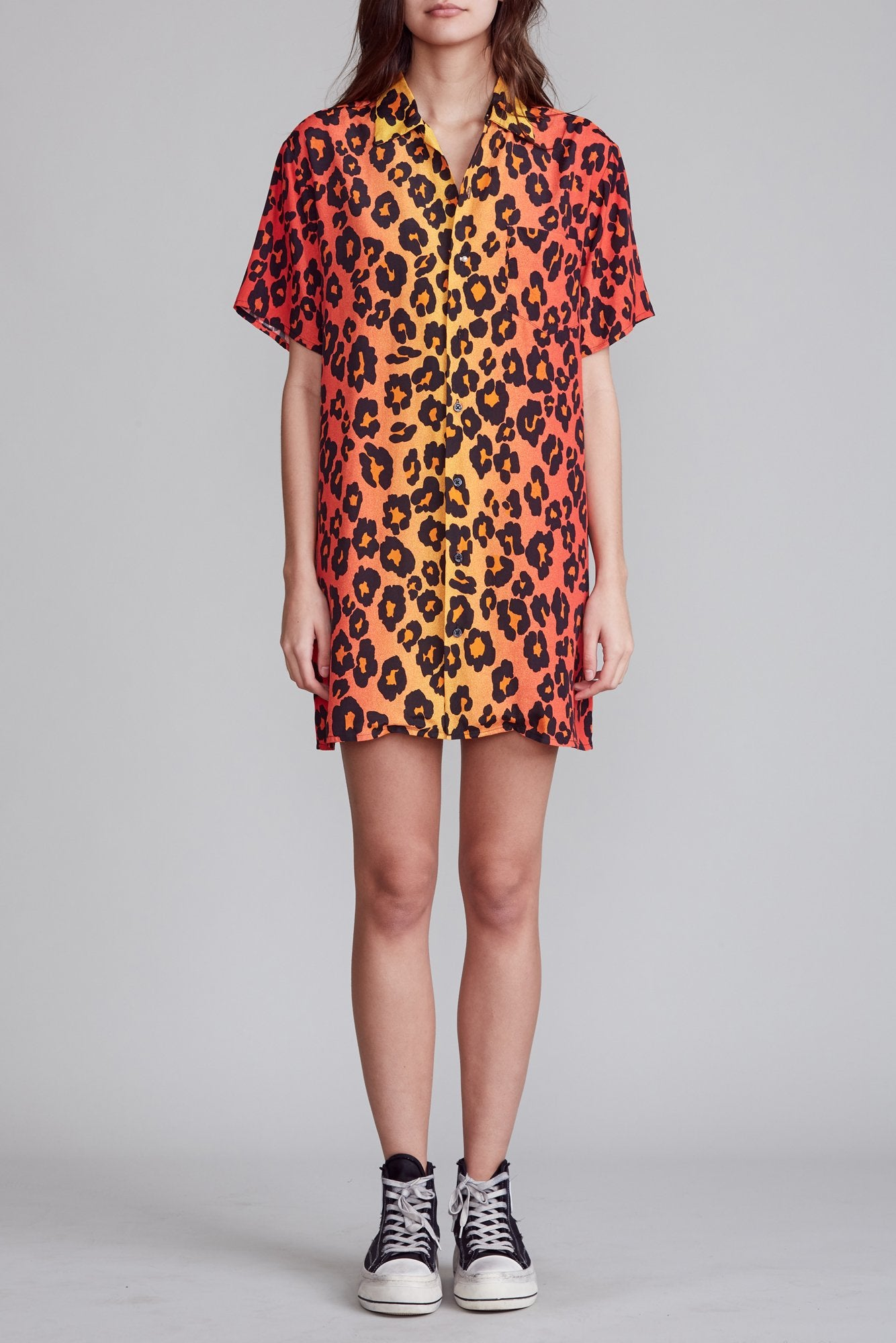 Skater Shirtdress - Ombre Leopard