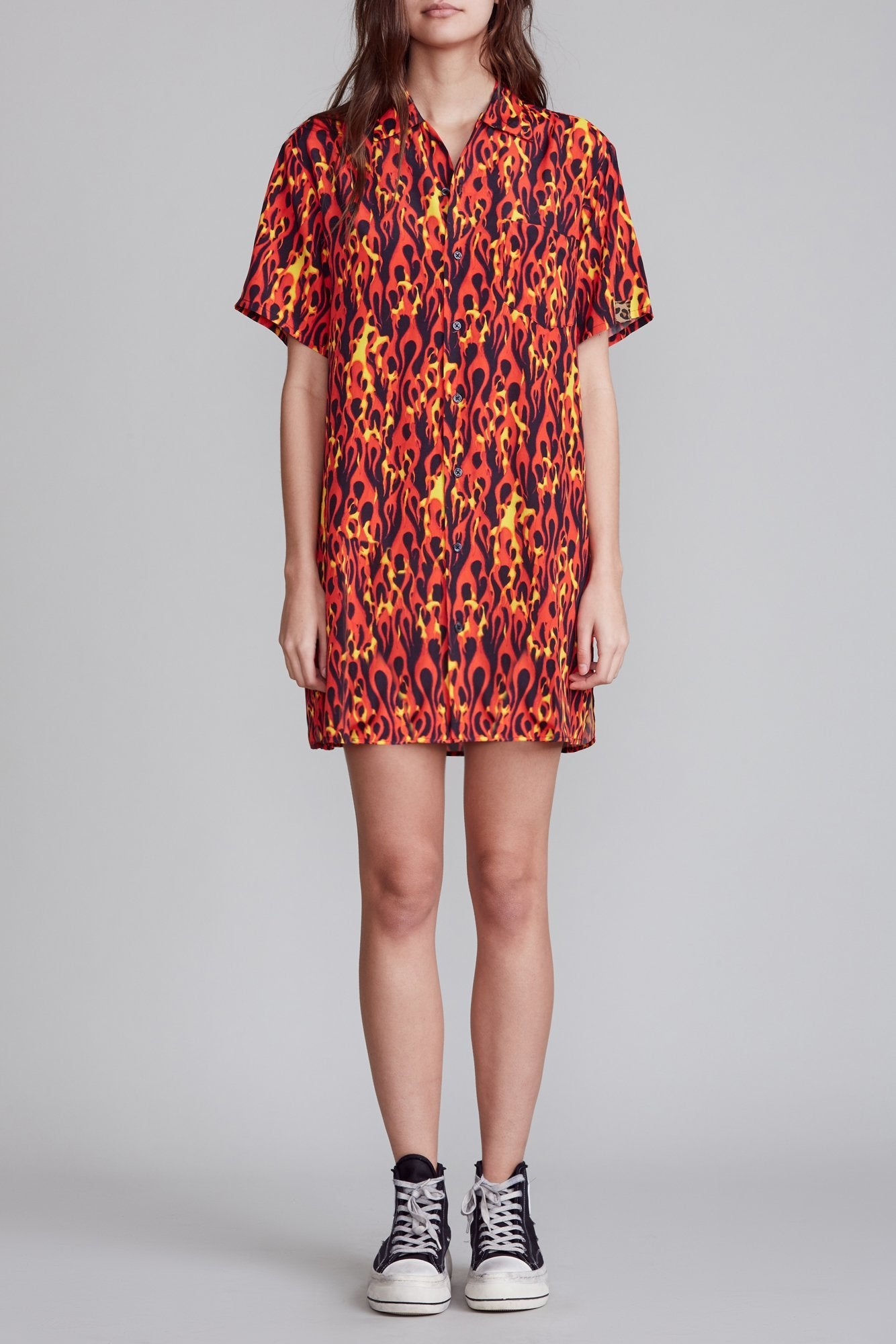 Skater Shirtdress - Flame