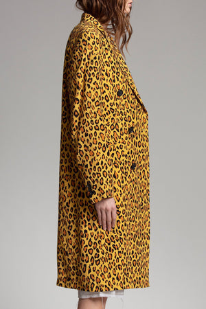 Peak Lapel Double Breasted Coat - Yellow Leopard