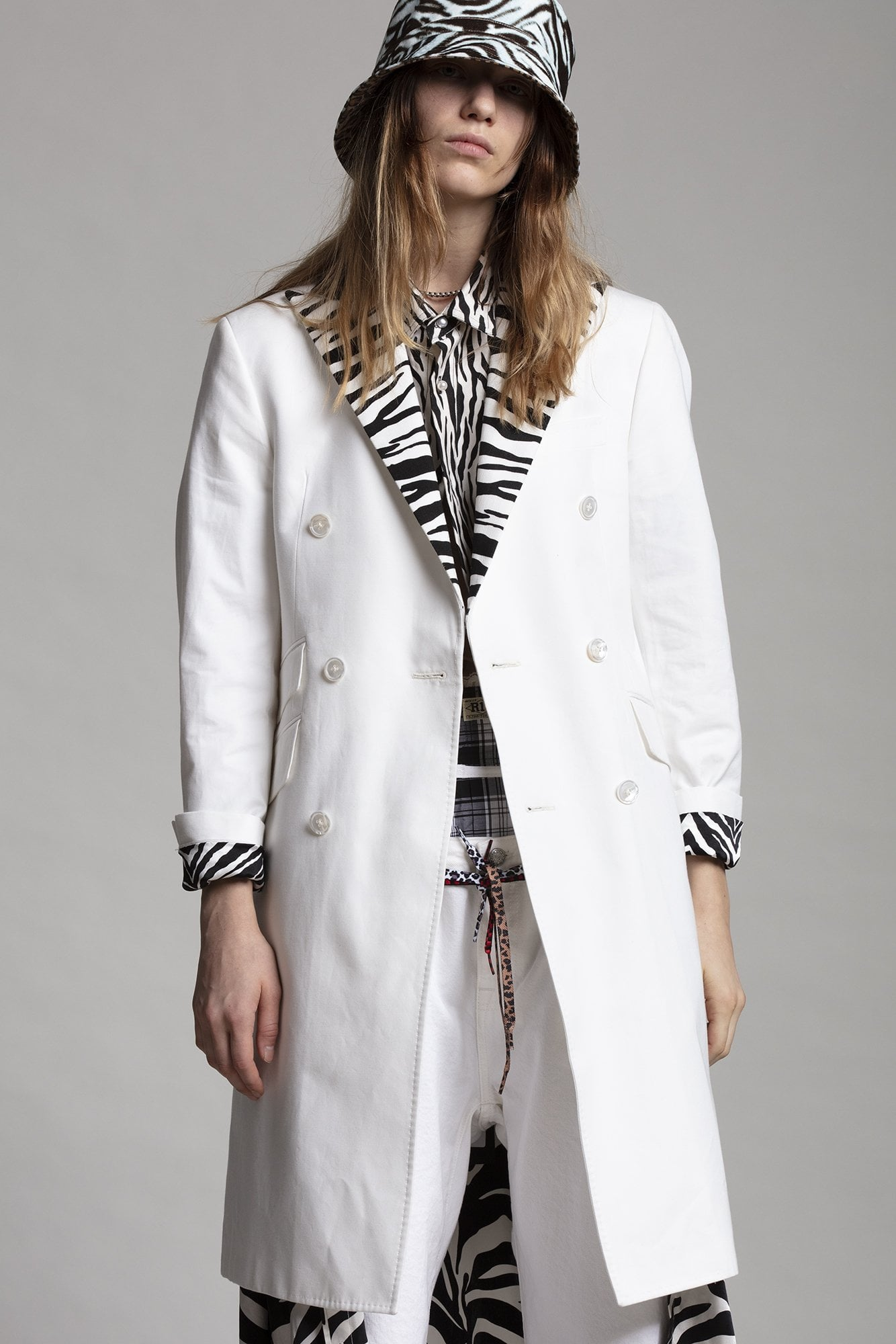 Peak Lapel Double Breasted Coat - White with Zebra