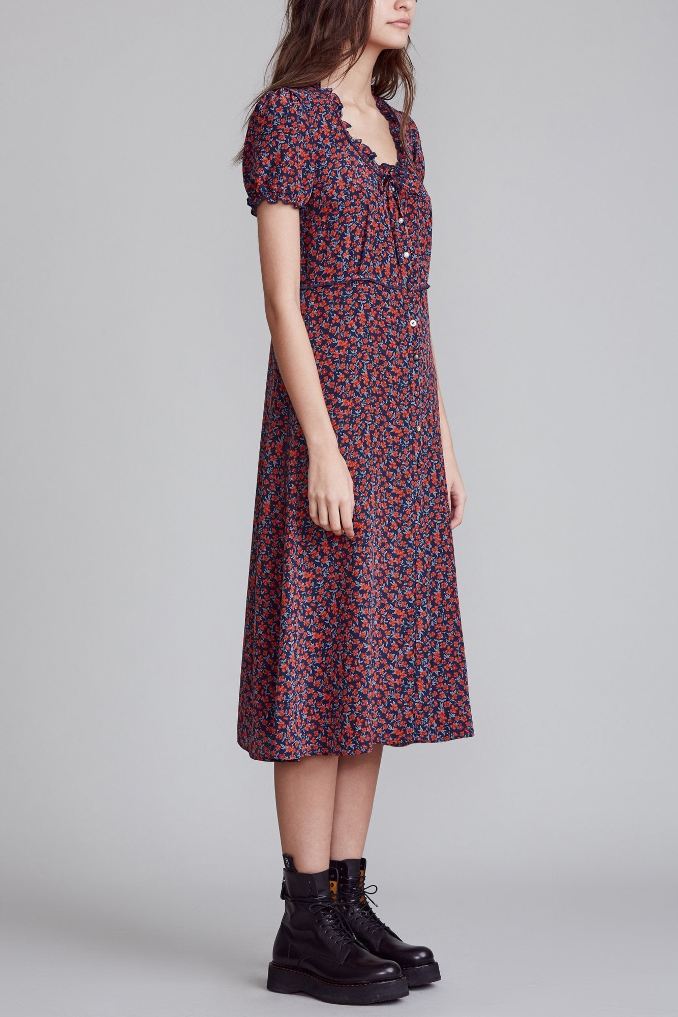 Front Button-Up Midi - Navy and Red Floral