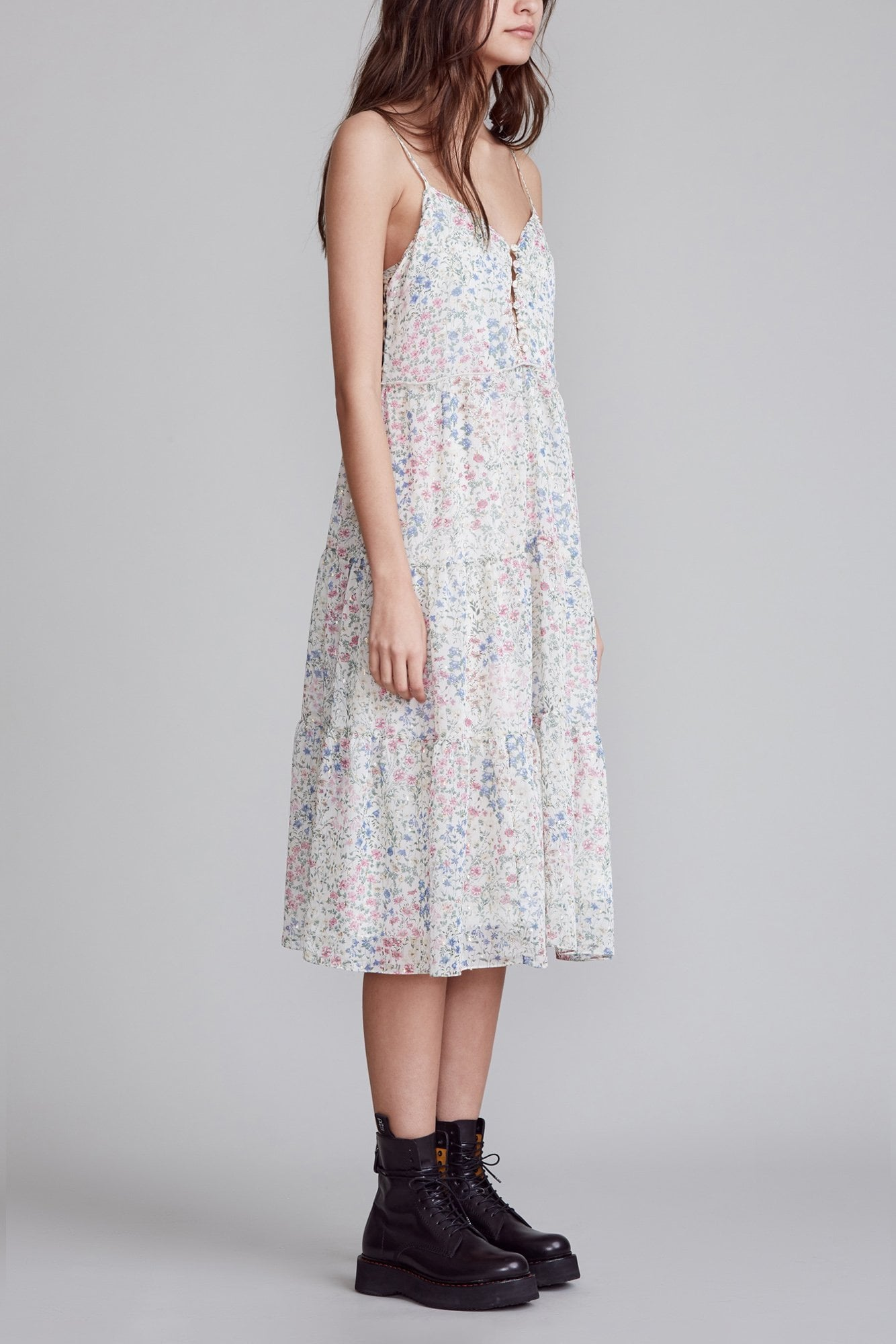 Midi Tiered Slip - Ecru Floral with Leopard