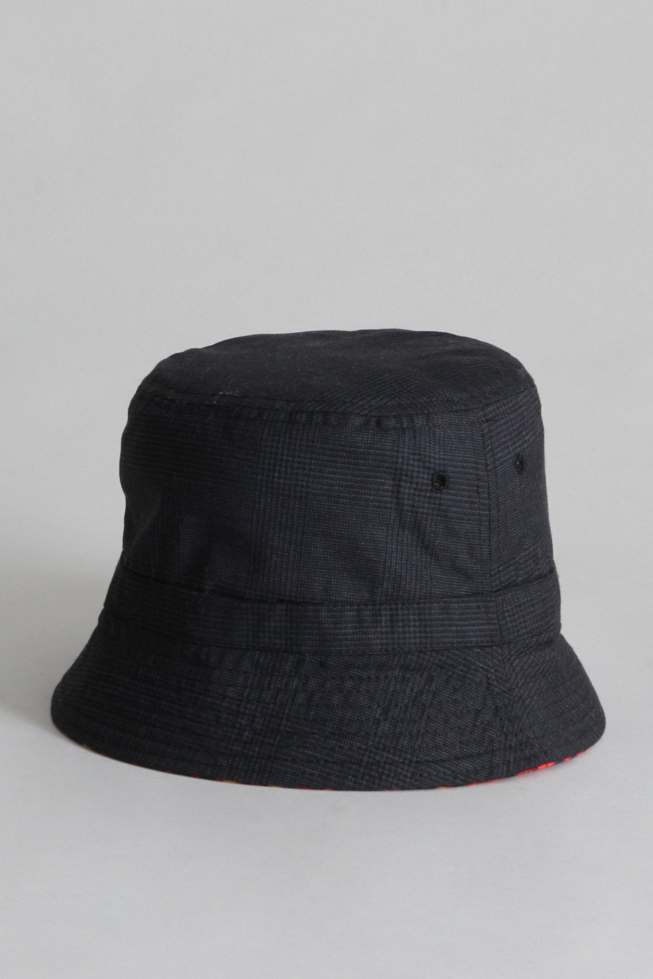 Reversible Bucket Hat - Flaming Skull with Grey Pin Dot