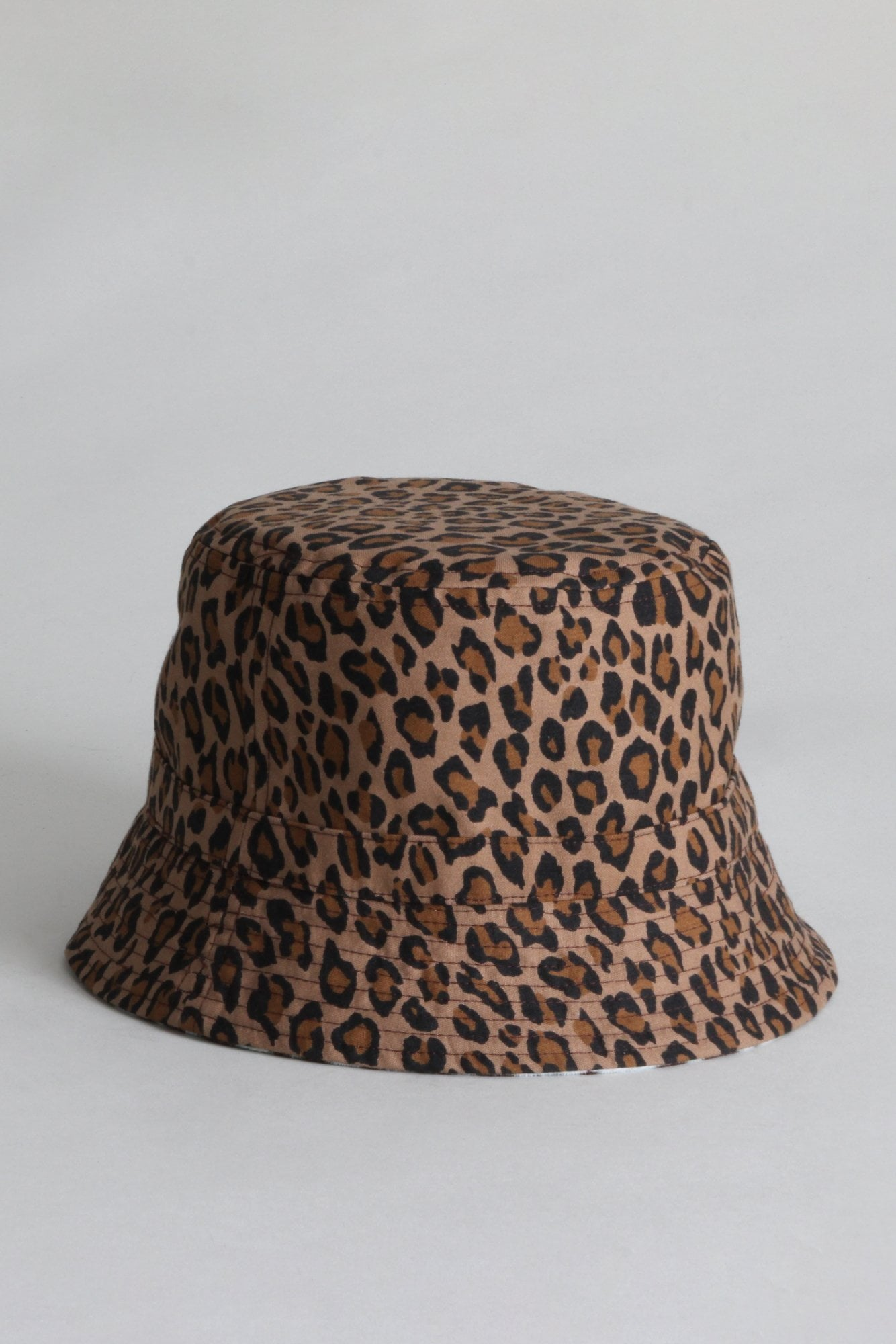 Reversible Bucket Hat - Pale Blue Tiger with Leopard