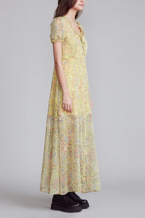 Front Button Up Babydoll Maxi - Yellow Floral