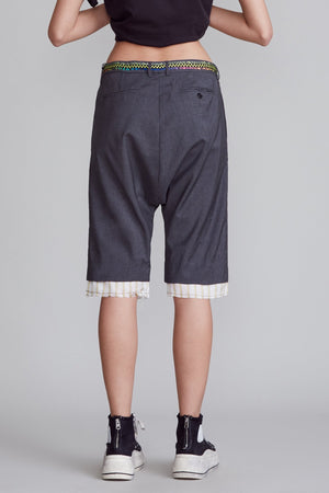 Drop Crotch Short with Shoelace Belt - Charcoal Grey