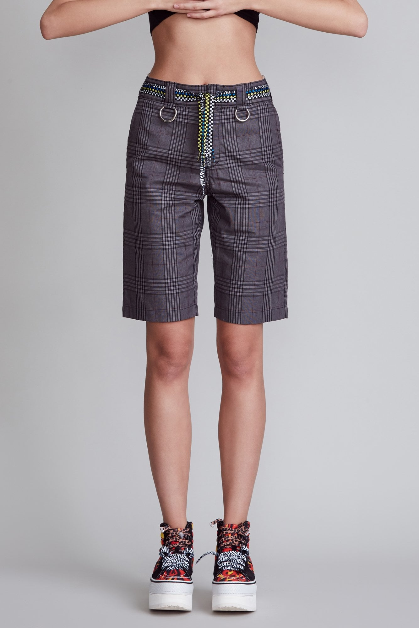 Slouch Shorts with Rings - Grey Glenplaid