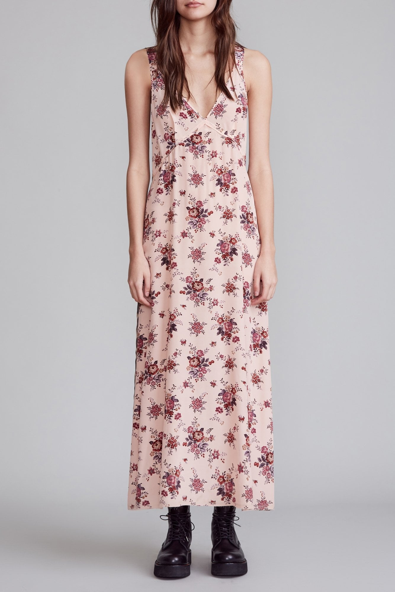 Long Slip with Side Stripe - Light Pink Floral with Leopard