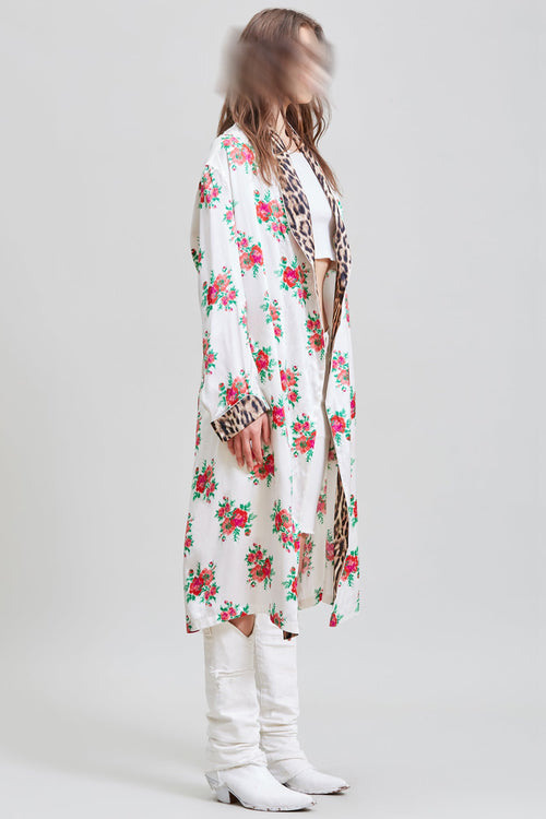 SMOKING ROBE WITH PIPING - RED ROSE ON ECRU