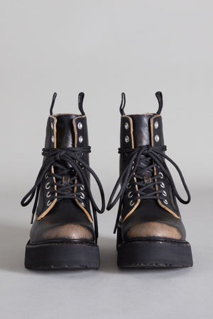 Single Stack Lace Up Boots - Black Remove