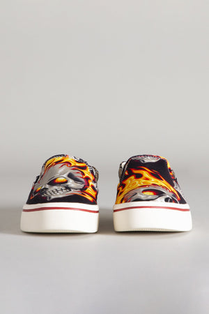 Slip-on Sneaker - Flaming Heads with Leopard