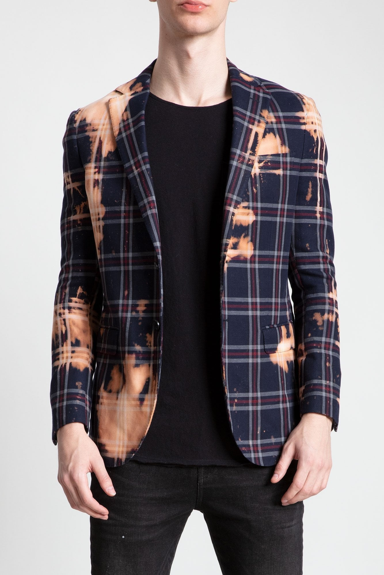 Tailored Blazer - Blue Plaid with Bleach Stains