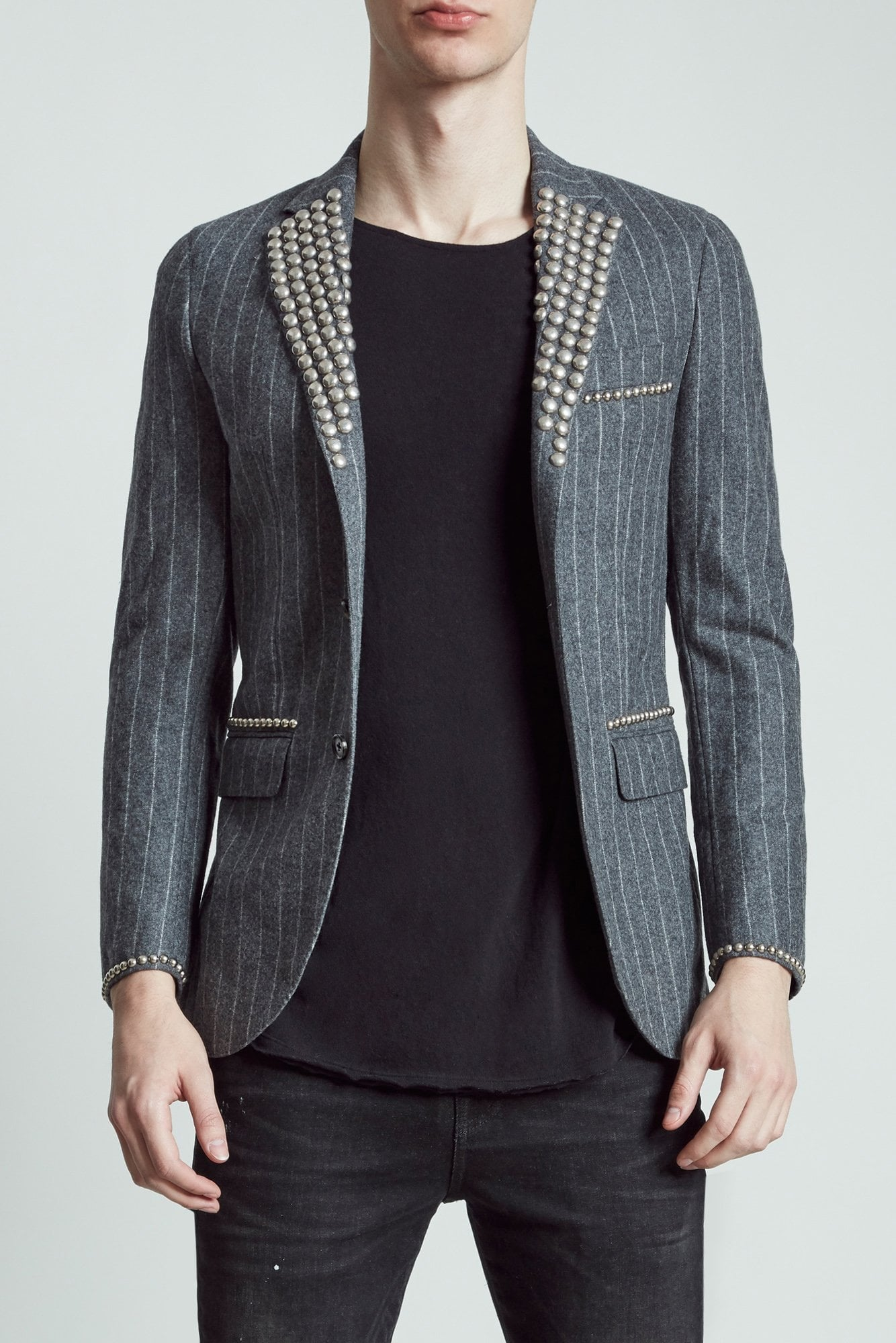 Tailored Blazer - Chalk Pinstripe with Studding