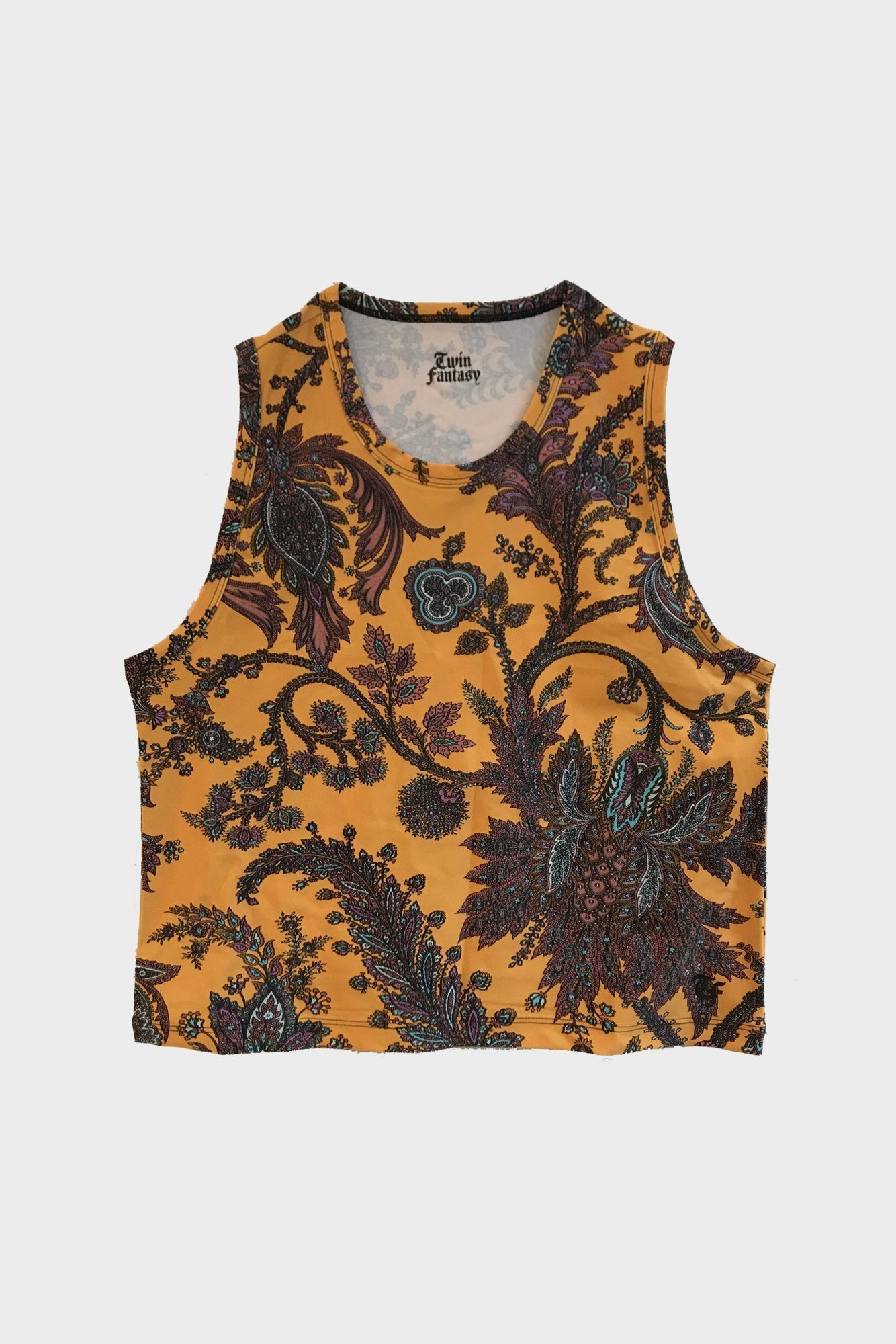 Cropped Tank - Orange Paisley