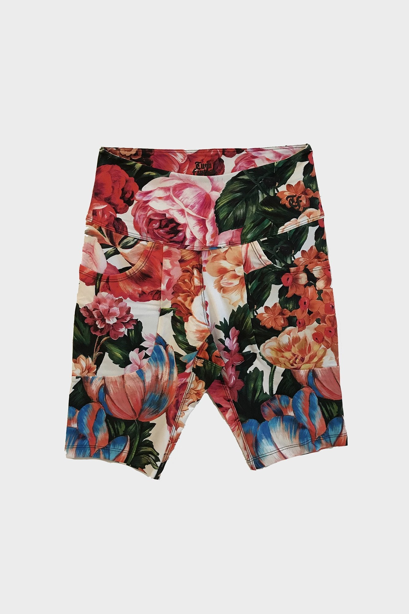 Patch Pocket Biker Short - White Multi Floral
