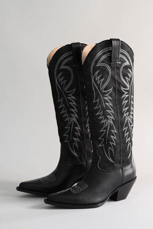 Limited Restock - Mid Straight Cowboy Boot - Black