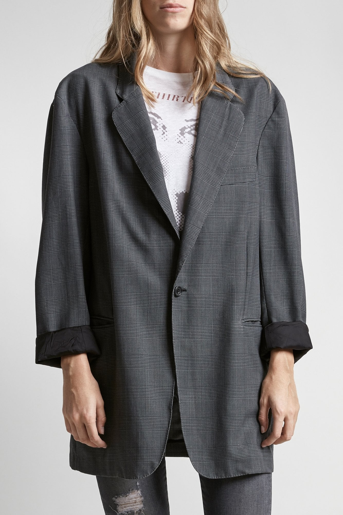 Sw Ragged Blazer-Grey Check