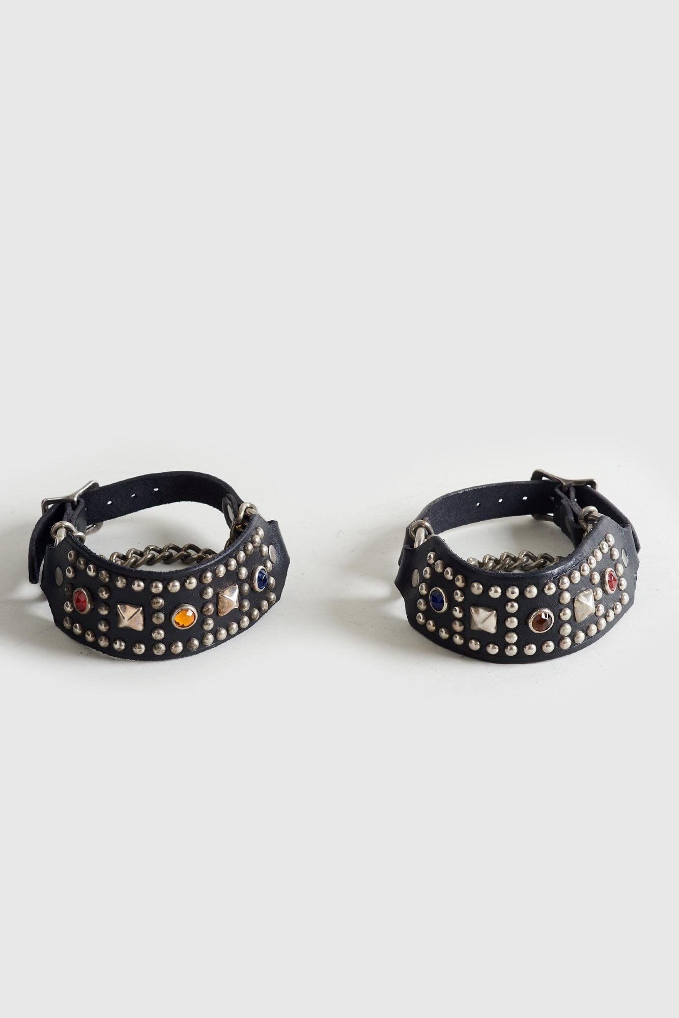 Studded Boot Harness Straps with Multicolor Crystals