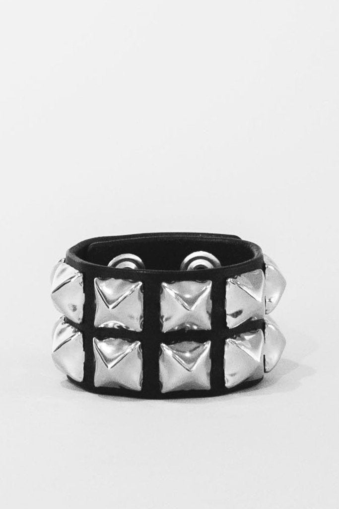 Polished pyramid stud cuff
