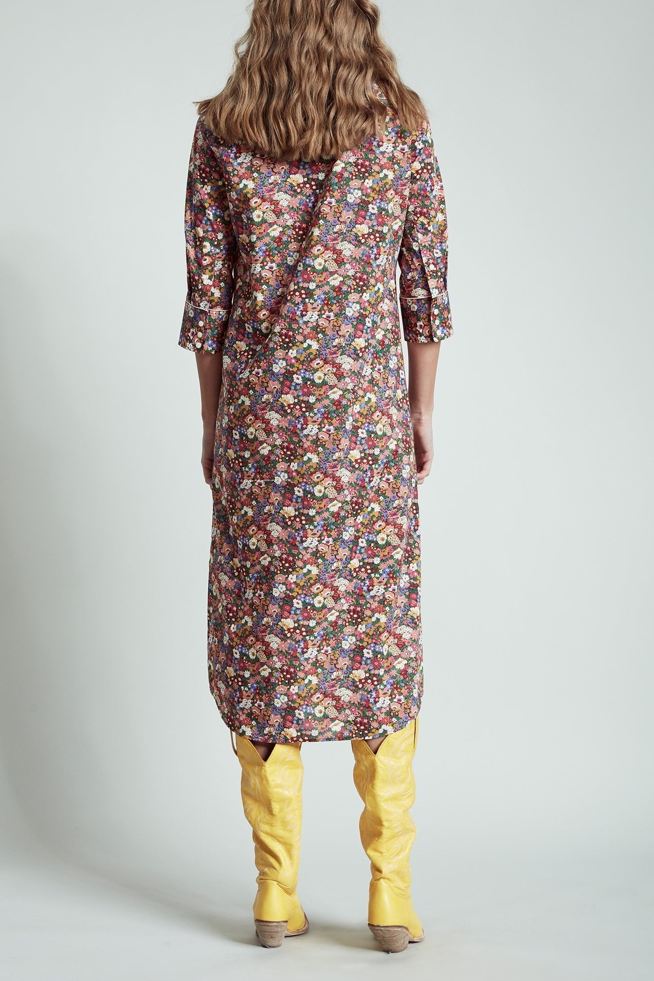 ¾ Sleeve Cowboy Dress– Multicolor Floral