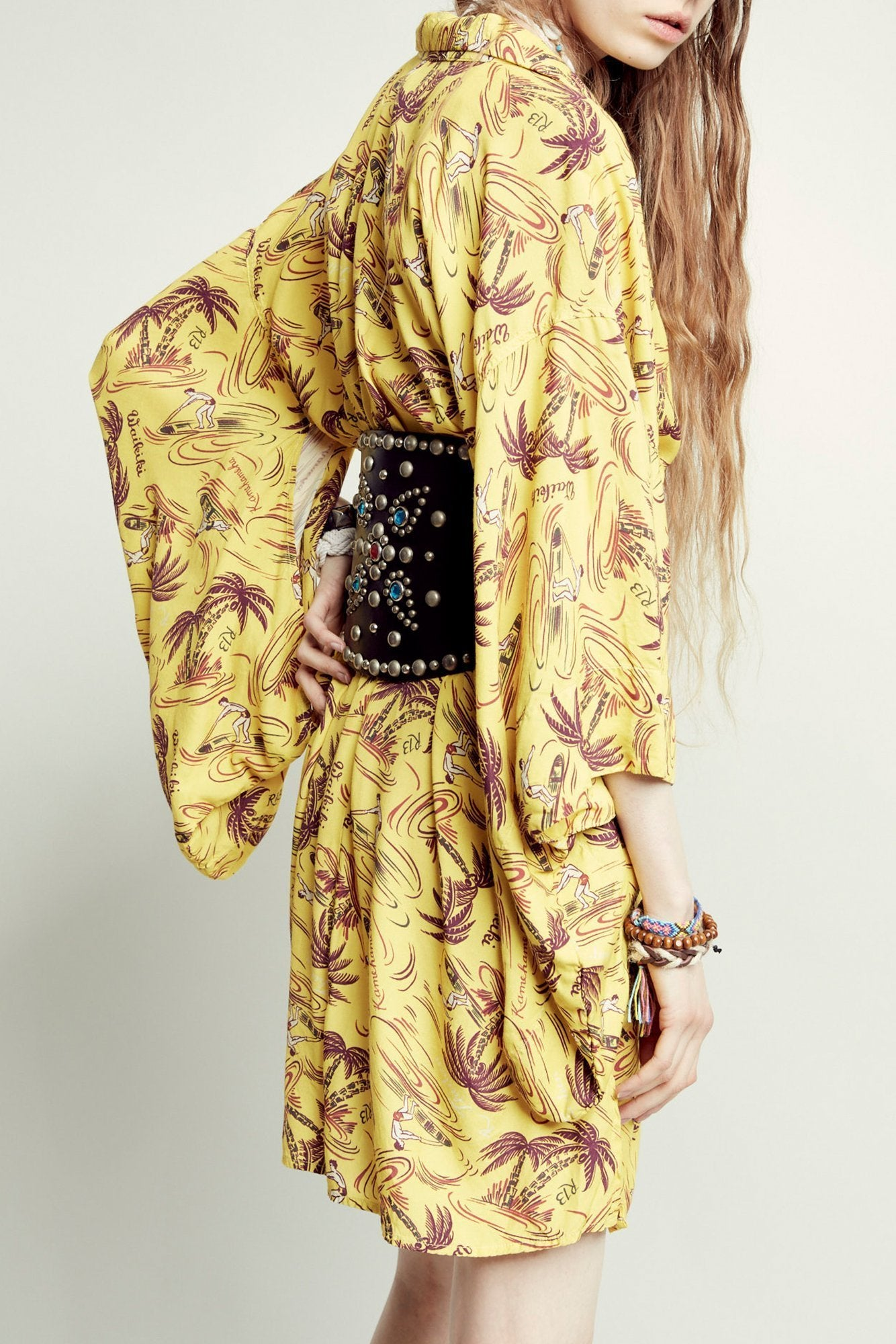Hawaiian Kimono Dress– Yellow Surfer