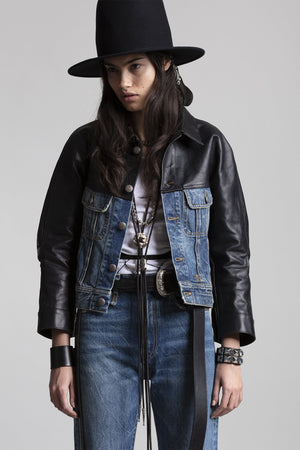 Siouxie Shrunken Trucker - Kelly with Leather