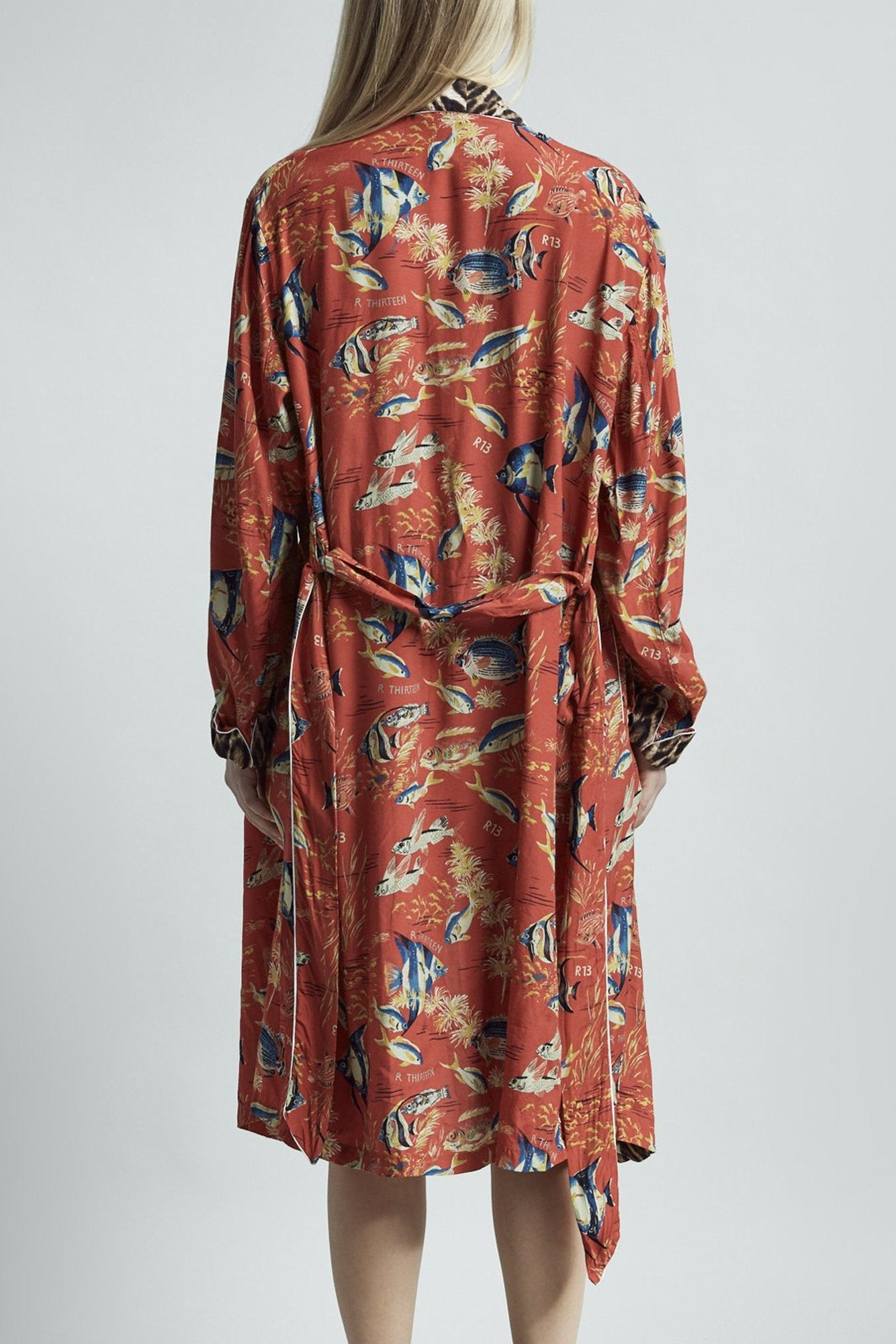 Smoking Robe with Piping– Red Fish with Leopard