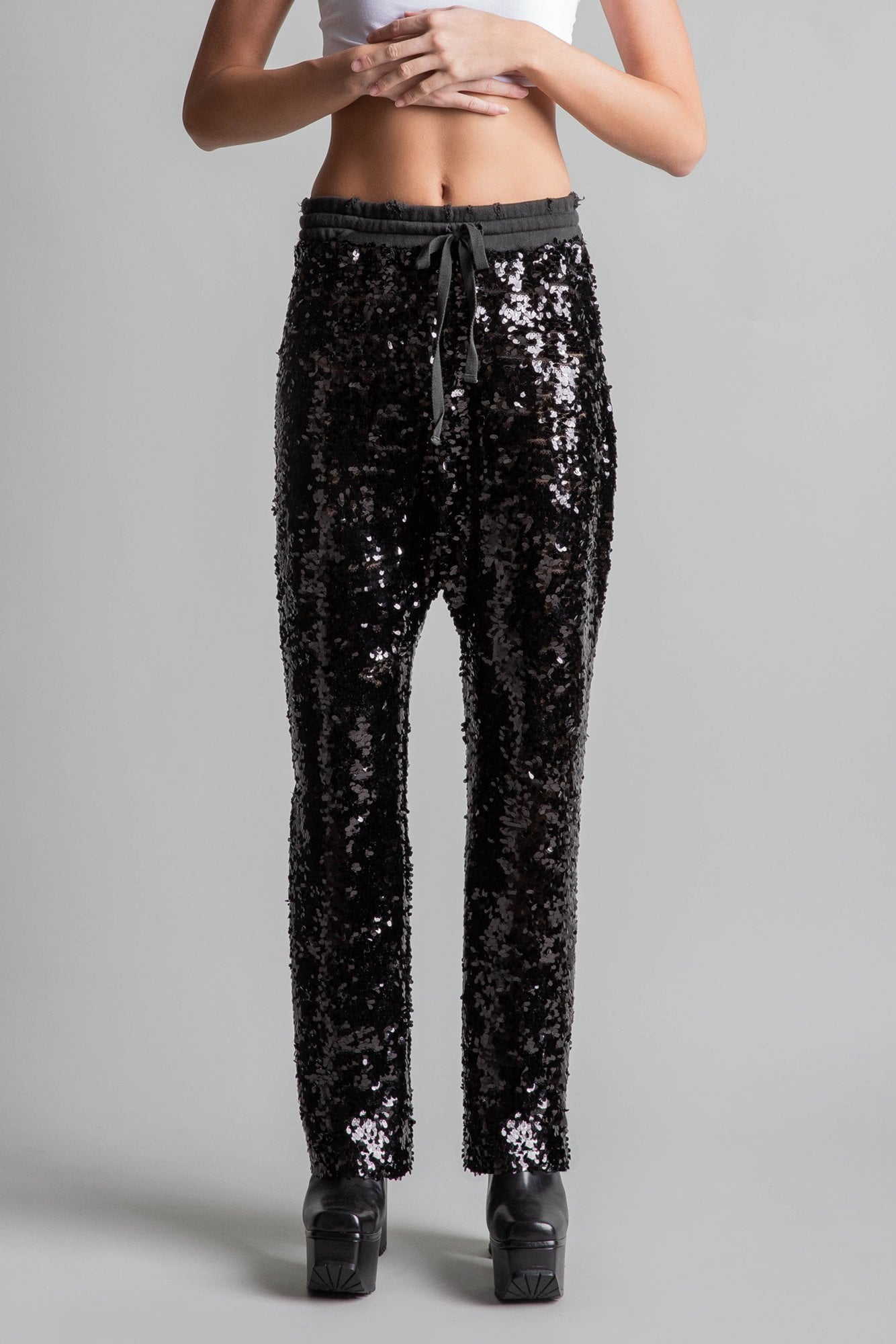 Sequin Field Sweatpants - Black
