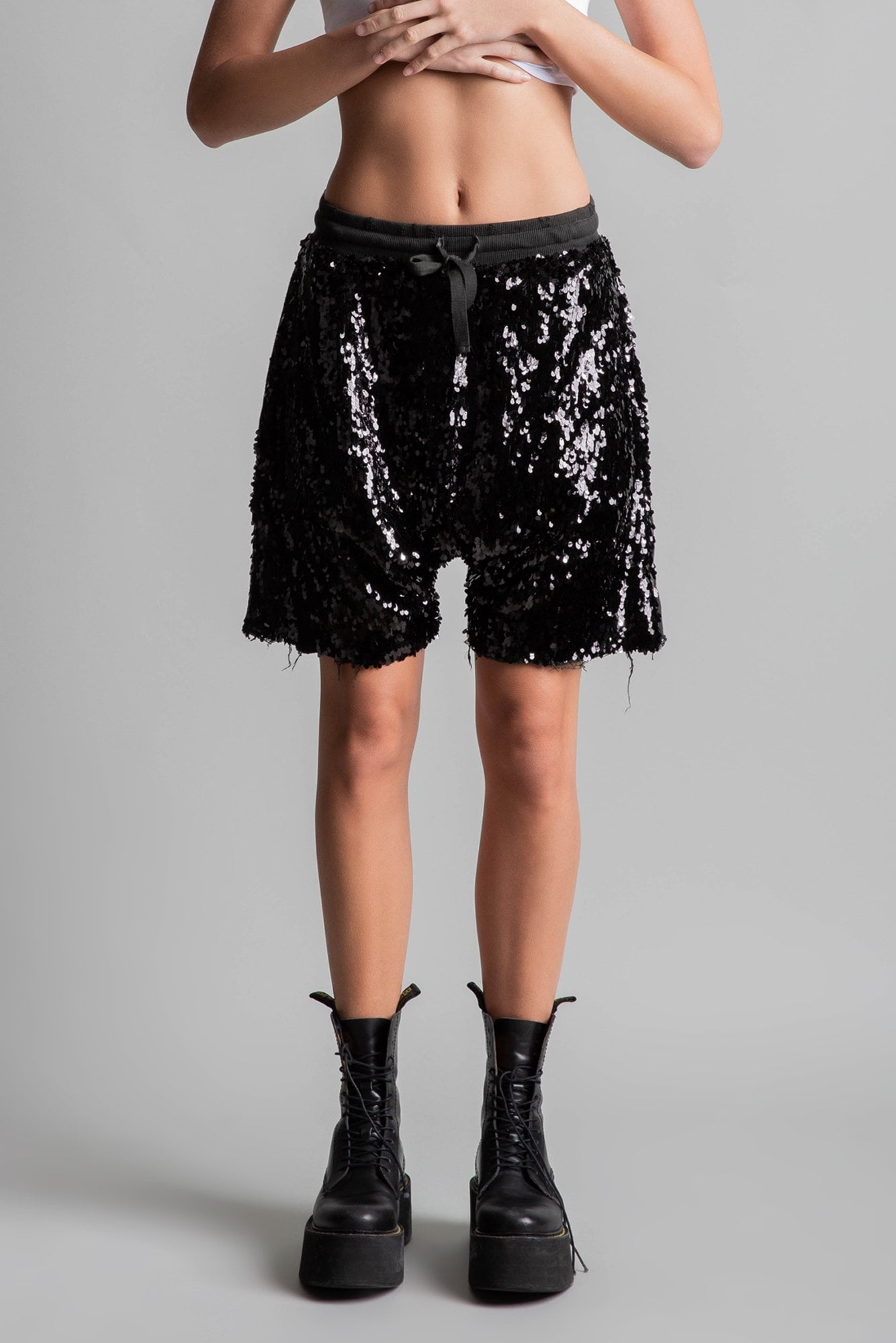 Sequin Harem Shorts - Black