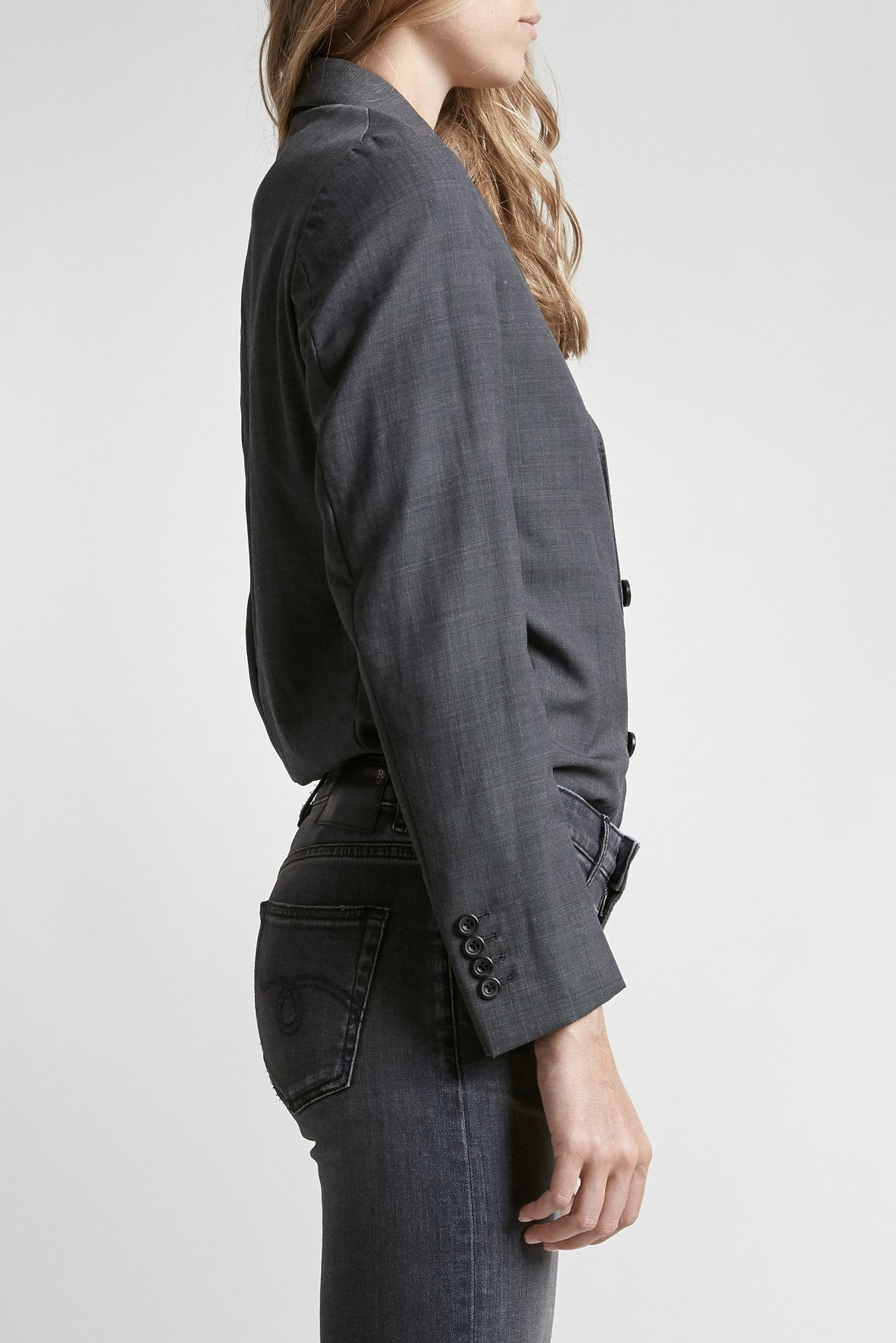 Tucked Boyfriend Blazer-Grey