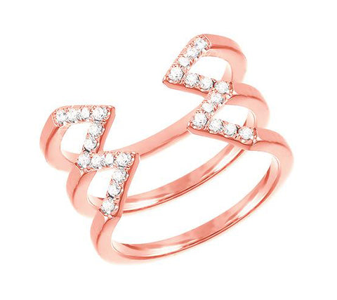 Rose Gold Stacked Midi  Dagger Ring with Diamonds
